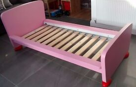 Pink/ Red IKEA Mammut bed. V G condition. Smoke and Pet free home