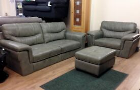 ScS Dayson 3+1 Taupe Leather Sofa Suite + Footstool