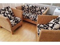 Housing Units conservatory 2 seater sofa and 2 chairs. Great condition. Bkack and biscuit in colour