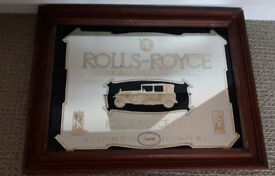 Collectors Vintage Rolls Royce 'Best Car in the World' mirror in frame excellent
