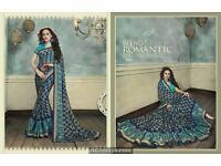 Beautifull designer printed brasso sarees in wholesale