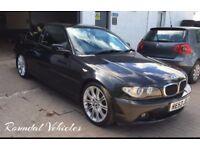 BMW 318 Ci 2.0 coupe 107k metallic black 2003 fully serviced fresh 12 months mot refurbished alloys