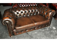 Brown leather 2 seater Chesterfield sofa