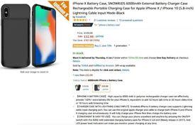 iPhone X Battery Case, SNOWKIDS 6000mAh External Battery Charger Case