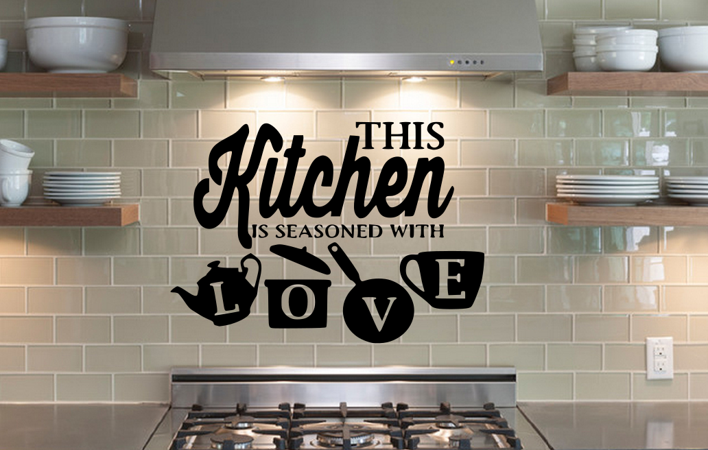 Home Decoration - Kitchen Pot Cup Love Wall Stickers Art Dining Room Removable Decals DIY