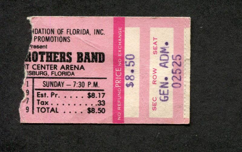 1979 Allman Brothers Band concert ticket stub St. Petersburg FL Midnight Rider