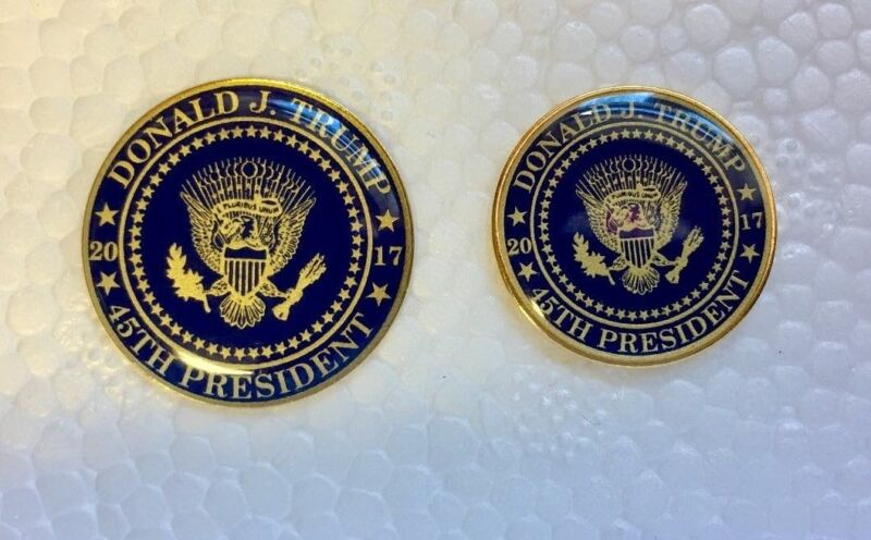 Support Donald Trump Presidential Seal 45th 2017 Lapel Pin set of 2 blue/gold