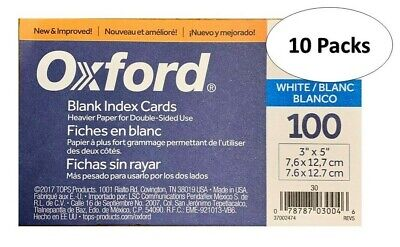 Oxford 30 3 X 5 Blank Index Cards - White 100pack 10 Packs