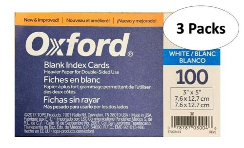 """Oxford 30 3"""" x 5"""" Blank Index Cards - White, 100/Pack, 3 Packs"""