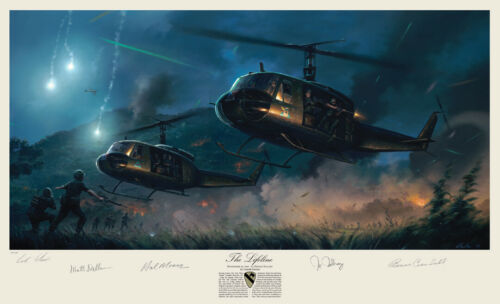 Ia Drang 7th Cavalry Huey Art Print Autographed by Hal Moore + 3 Vietnam Heroes!