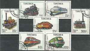 Timbres Trains Tanzanie 789/95 o lot 300 - France - Timbres oblitérés en série complte - France