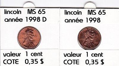 2 pieces 1 cent  lincoln 1998   D/P   voir description