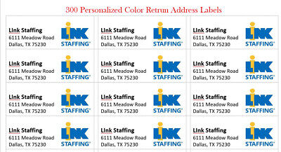300 -Custom Color W/ Logo Printed Large Return Address Labels 1