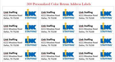 300 -custom Color W Logo Printed Large Return Address Labels 1 X 2-58