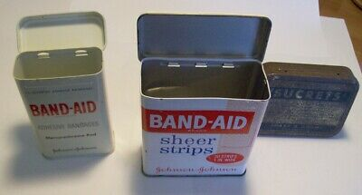 Vintage Lot Of 3 Advertising Items, 2Johnson & Johnson Band-Aid Tins, 1Sucrets