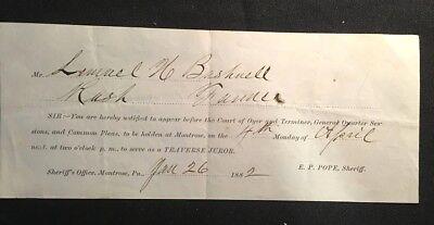 1882 Antique Jury Duty Juror Notice Montrose Pennsylvania Lemuel Bushnell Court