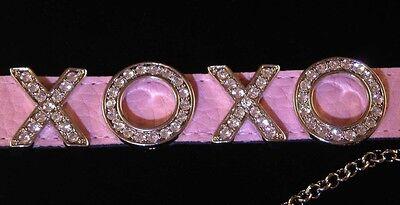 Crystal XOXO Pink Leatherette Wrist Band Bracelet