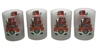 4 Culver Frosted Christmas Red Truck Presents DOF LowBall Glass Tumblers NEW
