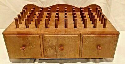 Vintage Thread Holder Small 50 spools pegs sewing organizer box w/drawer Plastic Peg Drawer Organizer