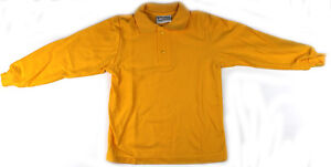 Long-Sleeve-Kids-Polo-Shirt-Gold-Size-6-8-10-12-14-16-Australian-Made-New