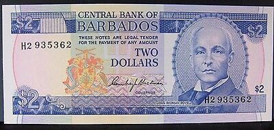 1973 Barbados  Central Bank Of   2 Dollar Note  Cu    Free U S Shipping