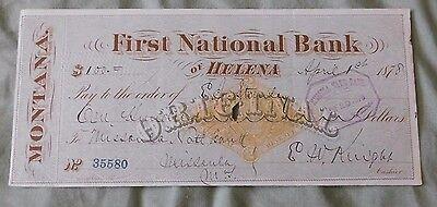 FIRST NATIONAL BANK Helena Montana April 1 1878 Check