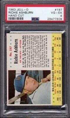 1963 Richie Ashburn Jell-O Baseball Card #197 Graded PSA 4 Very Good-Excellent