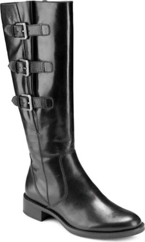 NEW ECCO Hobart Buckle Riding Boot Black Leather Size 38 7-7.5 - $75.00