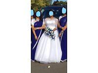 Plus Size Crystal Diamante Bridal Dress, Crown, 2-tier Veil, Bolero and Hoop