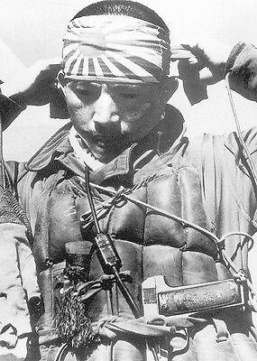 B&W WWII WW2  Photo Japanese Kamikaze Pilot Prepares  World War Two Japan / 2217