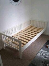 White wooden junior bed frame
