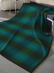 biederlack Baumwolle Dralon Wohndecke Sofadecke Kuscheldecke Karo grün blau