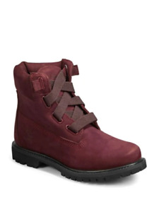 Timberland Women's Premium Leather Lace Up Boots - Burgundy