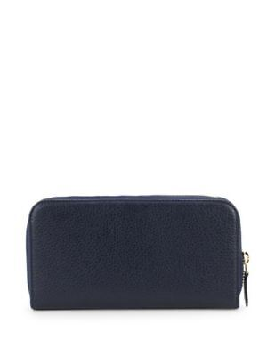 Versace Collection Leather Zip-Around Navy Wallet NWT