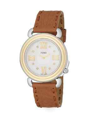 4 Fendi Selleria Diamond Mother of Pearl Leather Strap Watch 37mm 1695