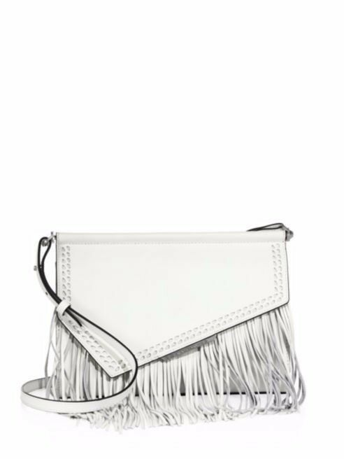 Clearance! Kendall + Kylie Ginza Fringe Leather Clutch Bag - White - RRP £216