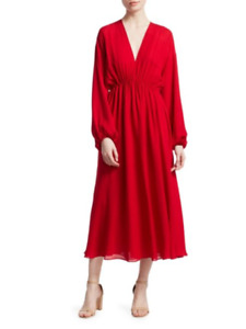 Elizabeth and James Norma Red Long Sleeve V-neck Dress, Size: M