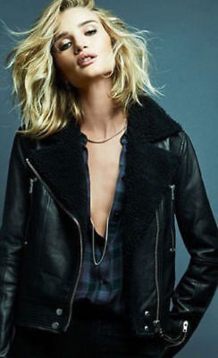 Rosie Huntington Whiteley Black Leather Shearling Jacket For Women