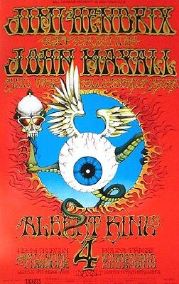Jimi Hendrix POSTER Fillmore John Mayall King Rick Griffin BG105 Sixth Printing