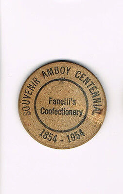 Vintage Wooden Nickel Amboy Centennial Fanelli's Confectionery 1854 - 1954
