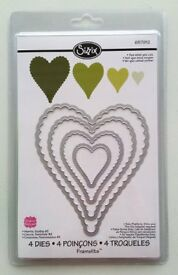 Sizzix Framelits scalloped hearts dies NEW/papercrafting/card making/scrapbooking/love/wedding