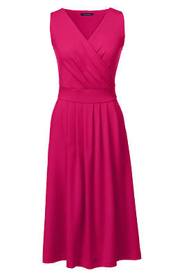 Lands End Women's Fit and Flare Dress Coral Ruby New