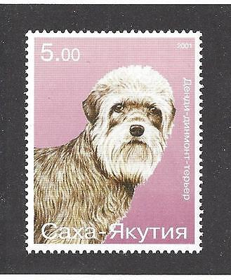 Rare Dog Art Head Study Postage Stamp DANDIE DINMONT TERRIER Sasha Yakutia MNH