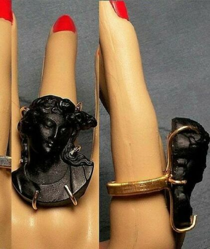 Huge BLACK CAMEO Ring Antique Mourning Vulcanite Cameo w/ Roses Unisex 9.5 OOAK