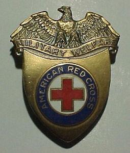 WW2-ARC-Military-Welfare-Hat-Badge-American-Red-Cross