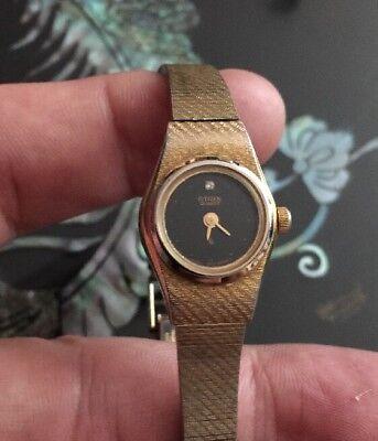 (Women's Citizen Gold Tone Watch Diamond Marker 3220-322291 Black Dial)