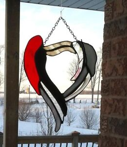 "Stained Glass Heart -- Hand Made -- Approx. 8"" - 10"""