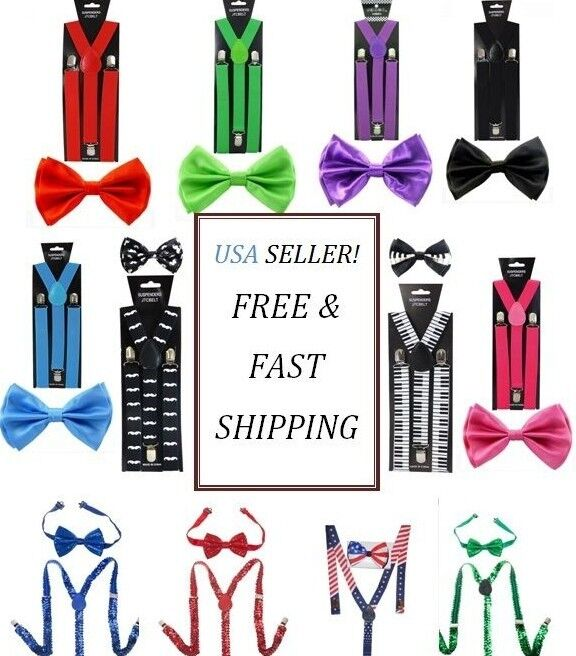 Suspenders And Bow Tie Set Wedding Party - Usa Seller - Adults Teens Men Women