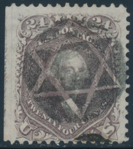 #70 24¢ Red Lilac Vf Used With Star Of David Cancel Cv $300 Bt8008