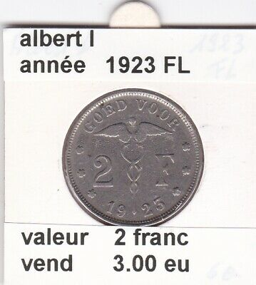 FB 1 )pieces de albert I  2 francs 1923 belgie